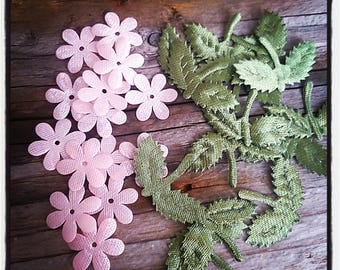 Set of 12 pink flowers and green fabric leaves for scrapbooking and creations