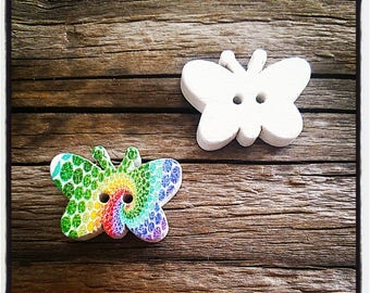 wooden button, shaped butterfly, multicolored pattern 19 x 13 mm