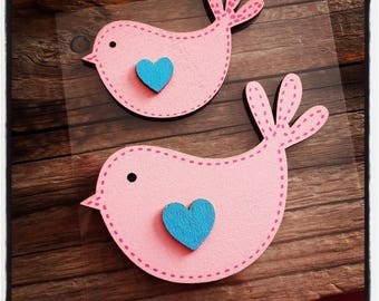 set of 2 birds in rosewood and blue heart