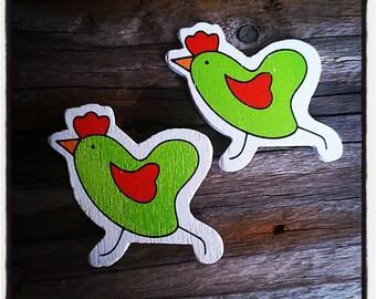 set of 2 green wooden hens