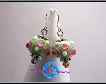 Bead picot lampwork green and pink, Silver 925 stud earrings.