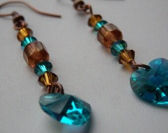 """The hearts"" blue zircon and topaz swarovski earrings"