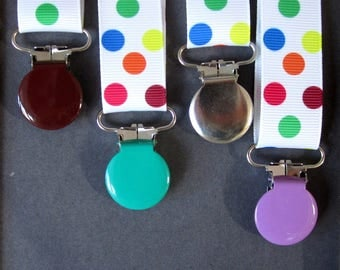 Clamp clip pacifier/strap round spring tones