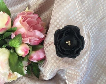 Flower 6 cm black satin and Black Lace with Golden beads