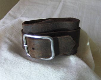 Handmade rustic leather bracelet