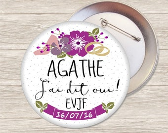 Bachelorette party XL ring bearer badge / name + date-customizable