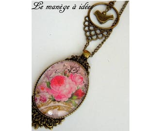 """Necklace """"name of the rose"""" bronze metal."""