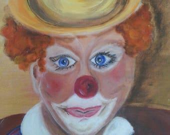 """Clown"" acrylic painting"