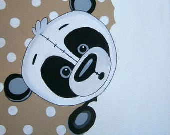 the panda canvas 20x20cm acrylic personalized with child's name