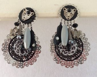clip with black grey earrings