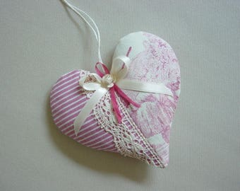 Heart Lavender sachet in linen and cotton