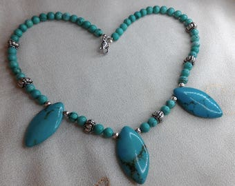 Weapon of Apache style turquoise necklace with stone