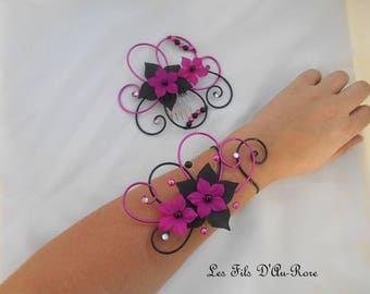Duo accessories Roman comb & fuchsia & Black bracelet