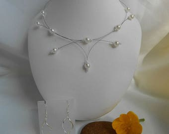 Set 2 pieces PERLICA necklace and Pearl Earrings