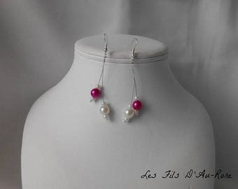 Pendant with fuchsia beads and Pearl Earrings