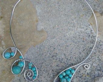 "Genuine turquoise necklace, Silver Aluminum wire, wire wrapping, Crystal healing, ""Sapphira"""