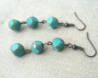 Earrings turquoise Bohemian beads