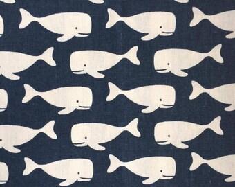 Whale / cotton-linen Japanese coupon 50cm x 50cm