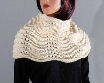 Choker, pure wool, ecru dots openwork for woman