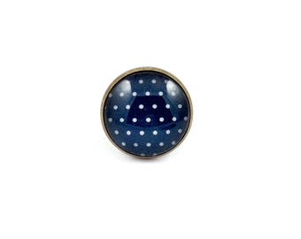 Large ring bronze * Cabochon * grey dots on dark blue background