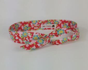 Red Japanese fabric cotton headband