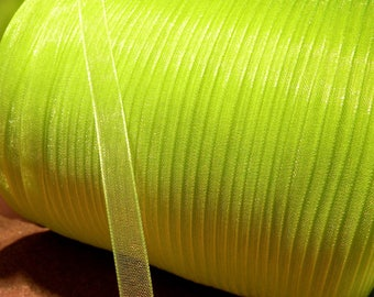 10 meter of 6 mm - yellow neon OR6 organza Ribbon