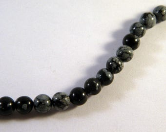 5 beads natural Obsidian snowflake 10.5 mm PP9