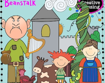 Jack and the Beanstalk Fairy Tale Hand Drawn Clip Art