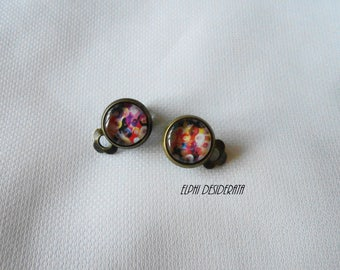 "Earrings cabochon clip,""pastel abstract""Zen, ethnic style. Original"