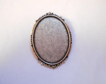 1 silver brooch finding antique cabochon 40 x 30 mm