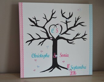 "Prints ""a guy, a girl"" theme tree Fuchsia and Turquoise size 50x50cm"