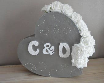 Silver and white wedding heart URN.