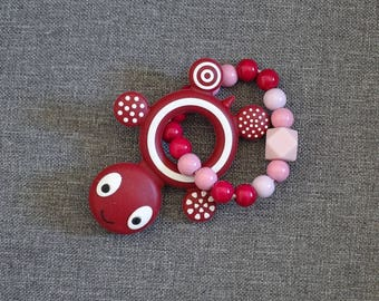 Ring teether/wooden rattle and Pinks and red turtle silicone