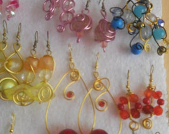 One awesome aluminum 1 mm wire dangle earrings