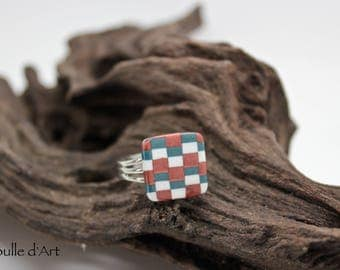 Square ring - bargello - polymer clay collection