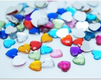 20 multicolored beveled heart cabochons