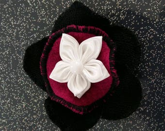 Black boiled wool and Fuchsia brooch and satin flower