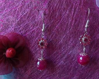 flower and Pearl fuchsia earrings