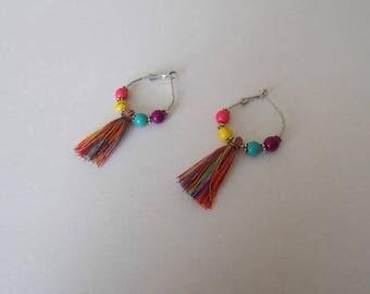 colorful Bohemian hoop earrings