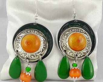 Dangle earrings with capsule coffee/cabochon/leaf green / orange/hooks cat eye 925 sterling silver