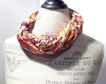 Cowl Infinity Scarf Rayon Knit Floral Print in Red, Pumpkin, White, Yellow