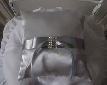 wedding ring pillow cushion color Pearl Grey