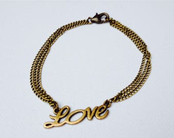 Love retro and vintage bronze connector and triple chain