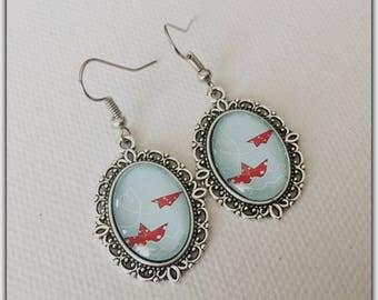 Cabochons glass, summer, Sailboat, sailor, beach earrings