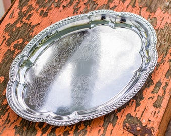 Vintage Silver Plated Etched Serving Tray Hong Kong 1988 / Vanity / Barware / Hospitality / Thanksgiving / Holiday