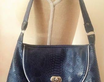 Navy blue dragon leatherette handbag