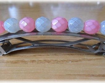 Hair slides round faceted beads with white opaque and pink
