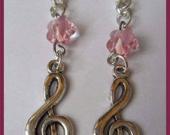 Earrings silver musical note pendant chain pendulum and crystal flower pink
