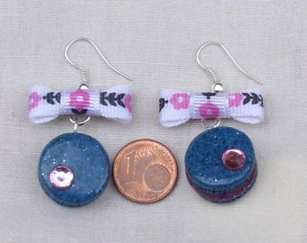 """Yummy earrings """"Macaroon Blue Jeans"""" bow flowers, Rhinestones, Liberty, polymere clay"""