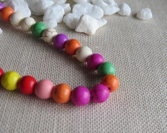 Set of 10 beads howlite 8 mm, various colors